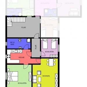 Grundriss mit Erweiterungszimmern