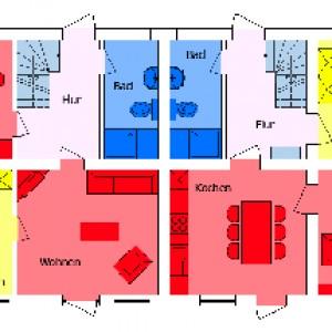 Grundriss mit beiden Reihenhäusern (EG)